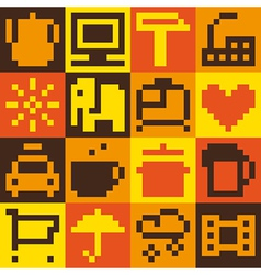 Set of pixel objects vector image