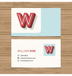 business card letter W vector image vector image