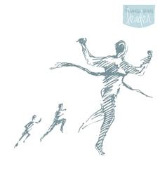 Drawn man crossing winner successful finish vector image vector image