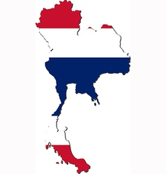 Map of Thailand with national flag vector image