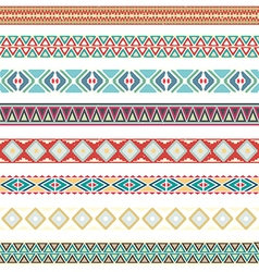 Seamless pattern borders tribal set vector image vector image