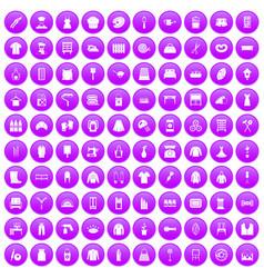 100 needlework icons set purple vector