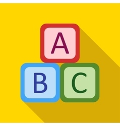 Children s toy cubes with letters on a yellow vector image vector image