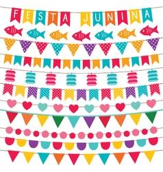 Festa junina bunting flags set vector