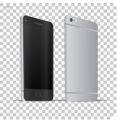 Front and back view of phone vector