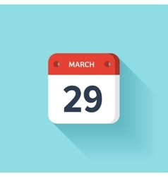 March 29 isometric calendar icon with shadow vector