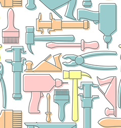 Tools seamless pattern Drill and hammer vector image vector image