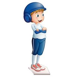A boy ready to play baseball vector image