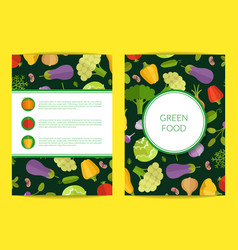flat vegetables card brochure flyer vector image