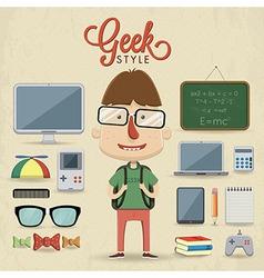Geek character design vector image