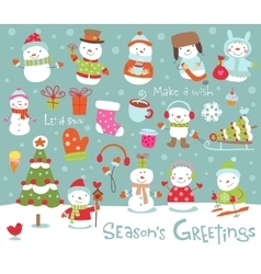 Set of cute and funny snowmen vector image
