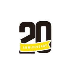 20 years anniversary number with yellow ribbon vector