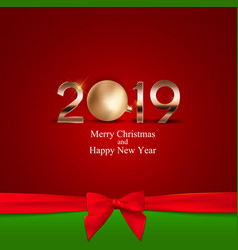 2019 new year background with christmas ball vector image