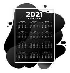 Abstract 2021 new year calendar in fluid style vector