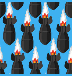 air bomb seamless pattern fighting rocket vector image