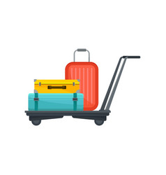 airport trolley with suitcases travel bags of vector image