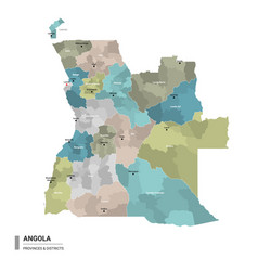 Angola higt detailed map with subdivisions vector