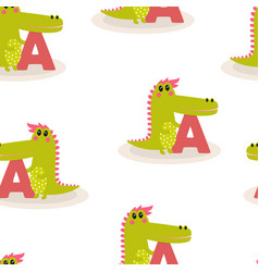 animal alphabet pattern with crocodile vector image