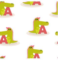 animal alphabet pattern with crocodile vector image
