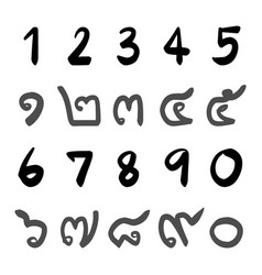 Arabic numerals and thai numbers handwriting vector