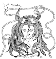 Astrological sign of Taurus as a beautiful girl vector