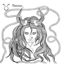 Astrological sign taurus as a beautiful girl vector