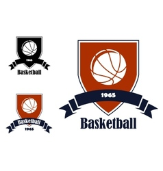 Basketball sports emblems and symbols vector image