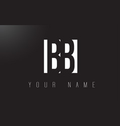 bb letter logo with black and white negative vector image