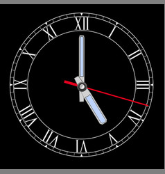 Black clockface with roman numerals five o clock vector