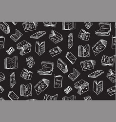 books white outline seamless pattern vector image