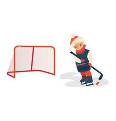 Boy playing hockey with puck and stick front view vector
