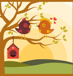 Cartoon love birds vector