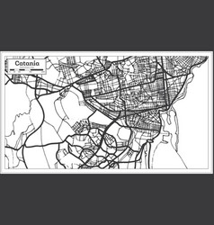 catania italy city map in retro style outline map vector image