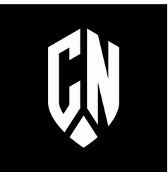 cn logo monogram with emblem shield style design vector image