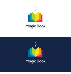 Colorful open book logo vector