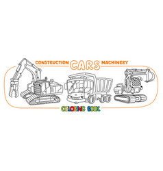 Construction equipment cars set coloring book vector