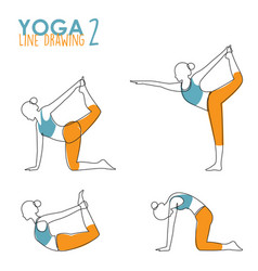 Continuous line drawing woman yoga pose vector