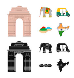 Country india cartoonblack icons in set vector