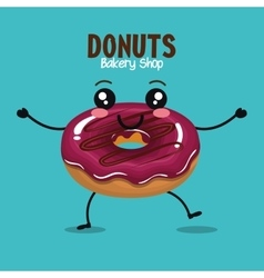 delicious donut comic character vector image