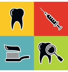 Dentistry medical black icons with white stroke vector