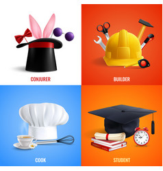 Different professions hats design concept vector