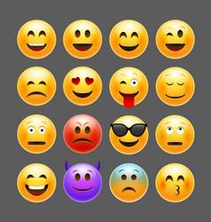 emoticons emoji set smile face character vector image