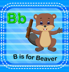 Flashcard letter b is for beaver vector