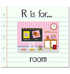 Flashcard letter R is for room vector