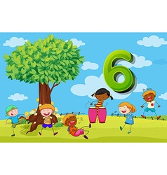Flashcard number 6 with six children in the park vector image