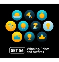 Flat icons set 56 - winning prizes and awards vector
