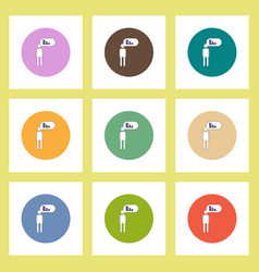 Flat icons set of man silhouette thinking about vector
