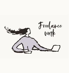 freelancer woman laptop computer hand drawn vector image