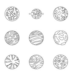 galaxy planet icons set outline style vector image