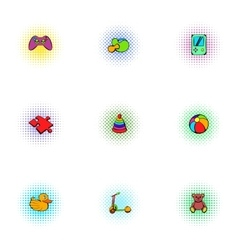Game icons set pop-art style vector